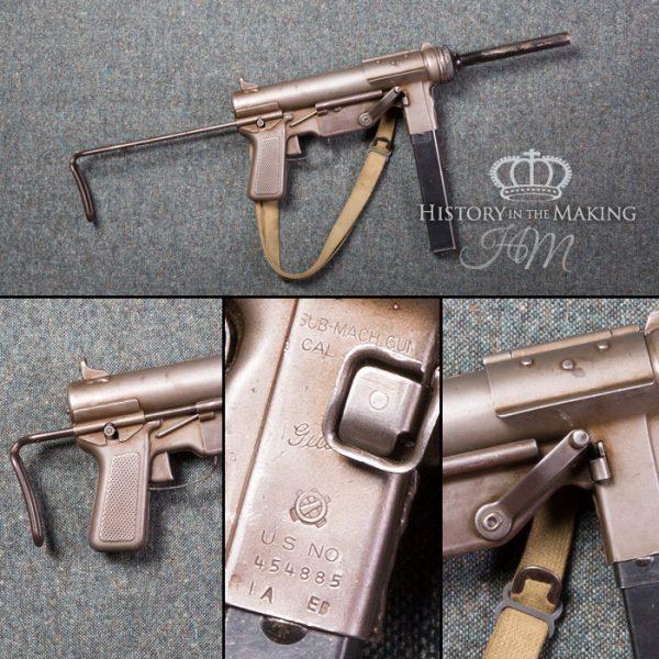American M3A1 sub machine gun, .45 caliber. Live firing.