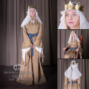 Norman Queen - 1066 - 1204- Gold Silk Dress - Gold Crown