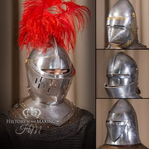 Medieval Helmets for Hire- Steel Replicas. (Click to open)