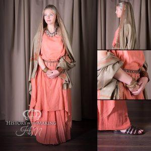 Woman's Costume, 3 part, terracotta muslin.
