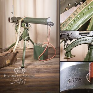 British made Vickers Heavy Machine Gun. 303 caliber. Available for hire as a deactivated prop or blank/live firing through our section 5 armoury services.