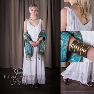 Women's X dress, white muslin.