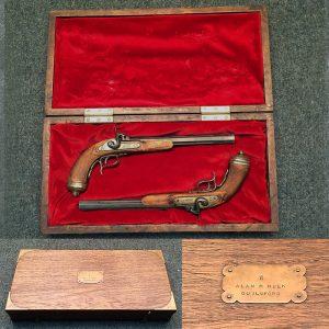 1830 Duelling Pistols - Paris Made - Non Firing Replicas - in Mahogany case