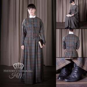 Victorian plain clothes -dark wool check cloth