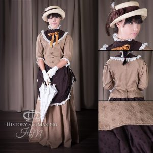 1860 Summer Day wear- Brown shades-straw hat and parasol