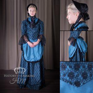 1860 Black lace over Blue Satin day dress