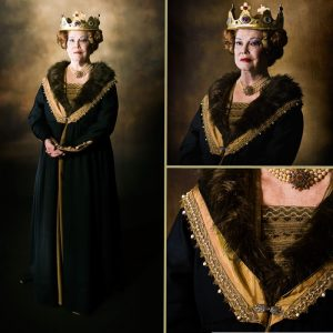 Queens Robes - Blue silk with fur stole