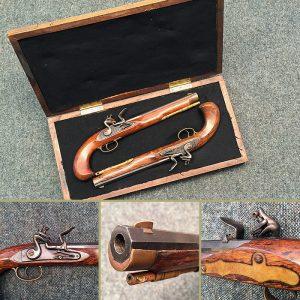 Italian 1790 Flintlock Duelling Pistols - Cased - Live Firing