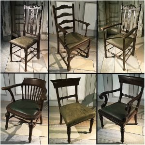 18th Century Chairs-Green Leather on Brown Frames
