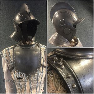 burgonet helmet-gorget-fiberglass armour-english civil war-spanish armada