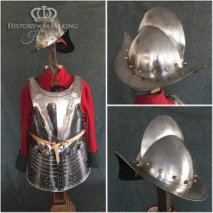 English Pikeman's full plate armour and combed morion helmet. Steel manufacture