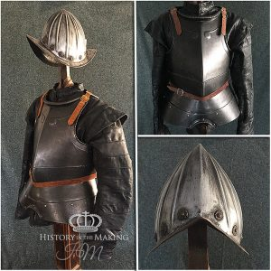 European 16th Century Cuirass and Morion Helmet. Made from GRP with metallic finish.