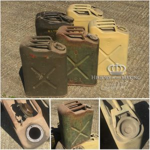 WW2 American Made jerry Cans - Petrol and Water types. Original.