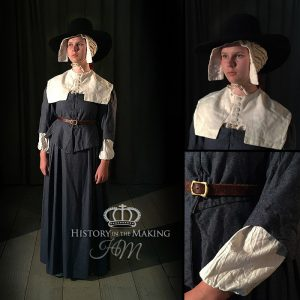 17th Century Women's Bodice and skirt-Linen Cape collar, Mop cap and shift.