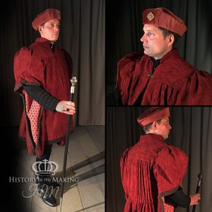 15th Century Courtier-Red robes and cap