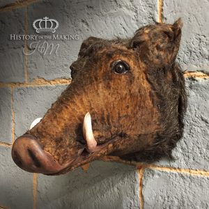 Full size- Boars head- Hunting Trophy- Fake fur and plastic