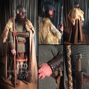 Viking Warrior (790-1066) Wolfskin Cloak- Chain Mail Shirt