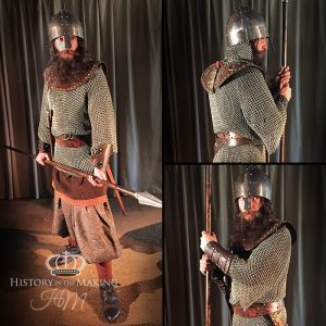 Viking Warrior in chain mail shirt with spear