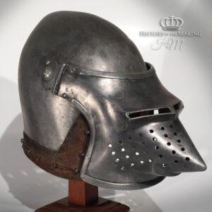 Medieval Helmets for hire- Fibreglass Construction. (Click to open)